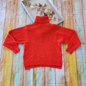 Mango Orange Turtleneck Chunky Knit Sweater S